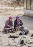 2 женщины с собаками ther Стоковые Фото