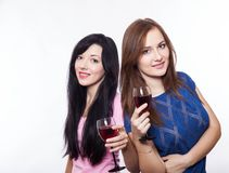 женщины с стеклами вина Стоковые Изображения
