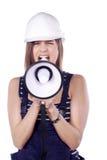 Женщины с шлемом и мегафоном Стоковая Фотография