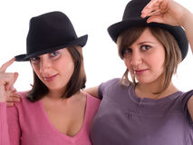 Женщины с шляпами Стоковое фото RF