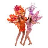 2 женщины танцора масленицы танцуя против изолированной белизны Стоковые Изображения RF
