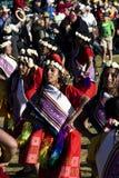 Женщины танцуя в традиционном костюме Inca на фестивале Raymi Inti Стоковые Фото