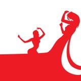 Женщины танцуя силуэты Стоковое Изображение