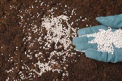 Женщины удабривать почва Садовничая сезон стоковые изображения rf