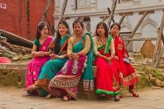 Женщины фестиваля Teej, квадрата Durbar, Катманду, Непала Стоковые Фотографии RF