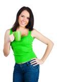 женщины чая чашки милые молодые Стоковые Изображения RF