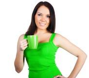 женщины чая чашки милые молодые Стоковые Фото