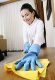 женщины чистки badroom молодые Стоковое Изображение