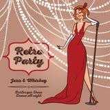 Женщины шаржа в ретро джазовой музыке петь стиля Стоковые Изображения RF