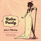Женщины шаржа в ретро джазовой музыке петь стиля Стоковая Фотография