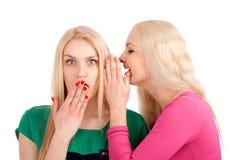 2 женщины шепча и ся Стоковое фото RF