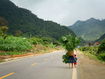 Женщины этнического меньшинства при ребенок идя на сельскую дорогу с Стоковые Изображения