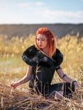 Женщины эльфа с пламенистыми волосами на природе Стоковые Фото