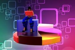 женщины 3D сидя на иллюстрации долевой диограммы Стоковая Фотография