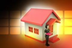 женщины 3d с домом и ключом Стоковая Фотография