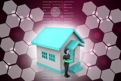 женщины 3d с домом и ключом Стоковое Изображение RF