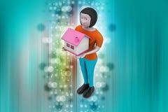 женщины 3d с домом Стоковое фото RF