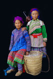 2 женщины Hmong с корзиной Стоковая Фотография