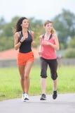 Женщины jogging в парке Стоковое Фото