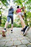 Женщины jogging в парке Стоковые Фото