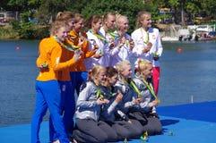 Женщины rowing учетверяют medlalists черепов в Rio2016 Стоковая Фотография