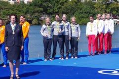 Женщины rowing учетверяют medlalists черепов в Rio2016 Стоковые Изображения