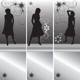 женщины silhuettes комплекта карточек Бесплатная Иллюстрация