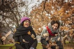 Женщины Ypung имея потеху и смеясь над в парке Стоковое Фото