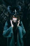 Женщин-шаман с рожками Стоковые Фото
