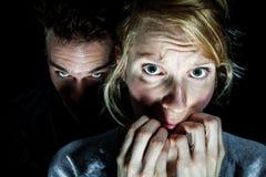 Жертва женщины испуганная ее парня Стоковое фото RF