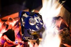 Жесткий диск в огне стоковое фото rf