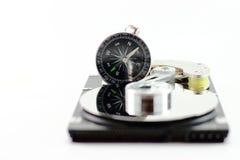 Жесткий диск и компас Стоковые Изображения RF