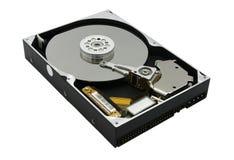 Жесткий диск Rreal открытый изолированный на белой предпосылке Стоковое Изображение