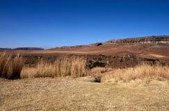 Жесткий сухой ландшафт зимы в оранжевом освободившееся государство, Южной Африке Стоковые Изображения
