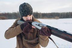 Жестокий охотник направляя на животные стоковые фотографии rf