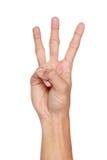 Жесты рукой подсчитывая 3, изолированный стоковые изображения