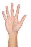 Жесты рукой подсчитывая 5, изолированный стоковое изображение rf
