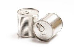 2 жестяной коробки изолированной на белизне Стоковое Фото