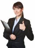 Жест большого пальца руки бизнес-леди поднимающий вверх Стоковая Фотография RF