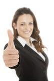 Жест большого пальца руки бизнес-леди поднимающий вверх Стоковое Фото