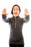 жест делая детенышей женщины стопа Стоковое Фото