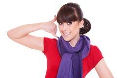 жест звонока делая мной женщину smiley Стоковое Изображение