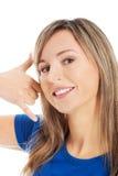 жест звонока делая мной женщину Стоковое Фото