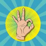 Жест знака о'кей искусства шипучки Стоковые Фото