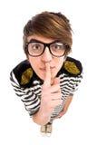 жест мальчика делая безмолвие Стоковое Изображение RF