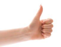 жест над большим пальцем руки вверх по белизне Стоковое Изображение