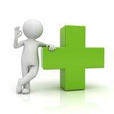 жест о'кей показа человека 3d с зеленым цветом плюс подписывает сверх белую предпосылку Стоковое Изображение RF