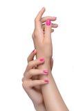 Жест рук. Конец-вверх женских рук показывать пока изолированный Стоковое Изображение