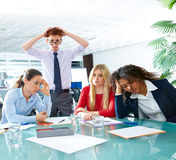 Жест унылого выражения деловой встречи отрицательный Стоковая Фотография