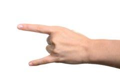 жест дьявола давая рожочки руки Стоковое Фото